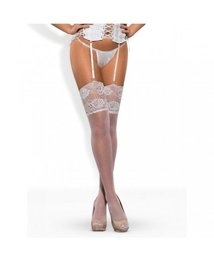 Bas Blanc Féminine Jarretière - Obsessive