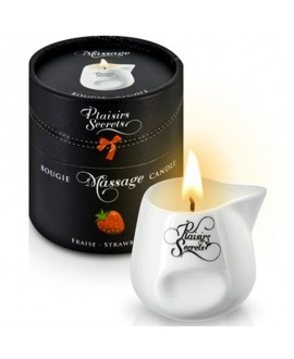 Bougie de Massage Fraise 80ml - Plaisirs Secrets