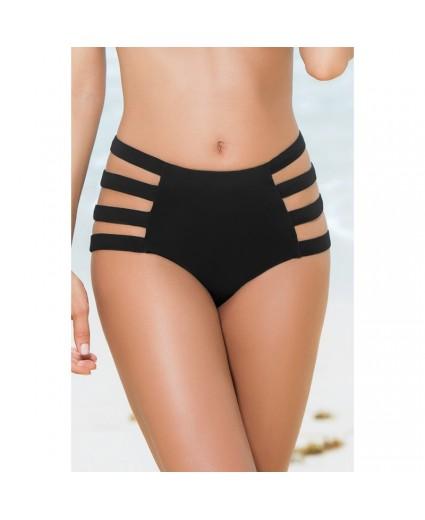 Bas Bikini Noir Taille Haute & Strappy - Mapalé
