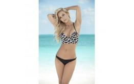 Bikini Bustier Imprimé et Tanga Noir - Mapalé