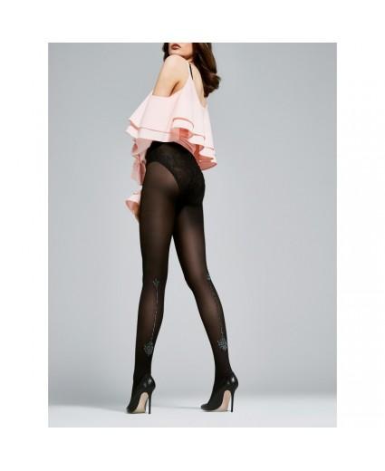 Collant Couture Motif Argent 40 Deniers - Fiore