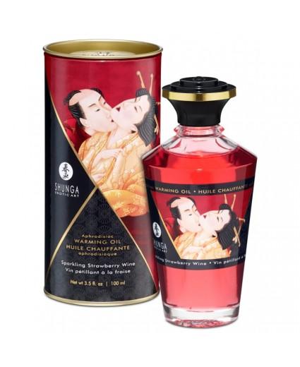 Huile Chauffante Aphrodisiaque Vin Pétillant Fraise 100 ml - Shunga