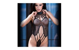 Body Noir Résille & Strappy - Chilirose