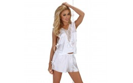 Ensemble Top et Shorty Blanc Virginal - Beauty Night
