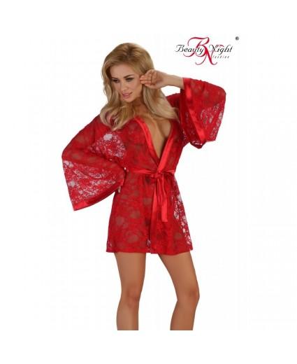 Peignoir Rouge Façon Kimono - Beauty Night